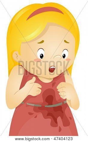 Illustration of a Little Kid Girl Spilled something on her Dress