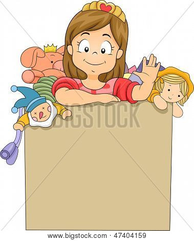 Illustration of a Little Kid Girl inside a Toy Box