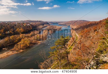 View West Up The Potomac River From Maryland Heights, Across The River From Harper's Ferry, West Vir