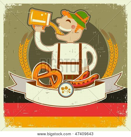 Vintage Oktoberfest Posterl  With German Man And Beer.vector Illustration On Old Paper