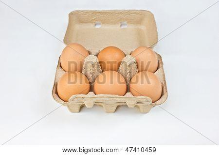 Half-Dozen Of Eggs In Container