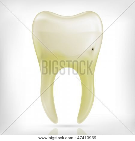Bad ill yellow  tooth icon isolated on white background. Tooth cavity.