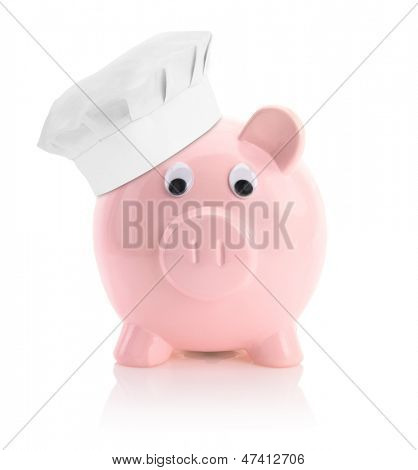 Cooking economy represented by a piggy bank with a chef hat
