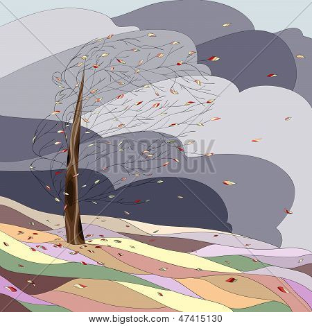 Autumn landscape with tree and falling leaves