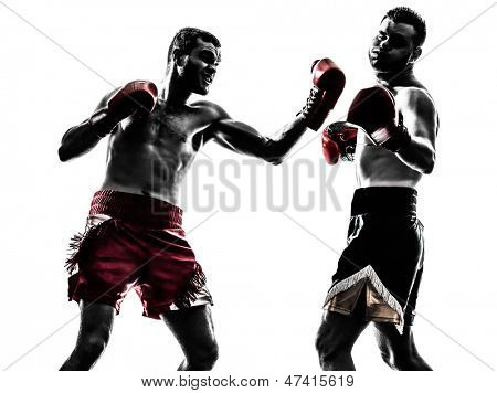 two caucasian  men exercising thai boxing in silhouette studio  on white background
