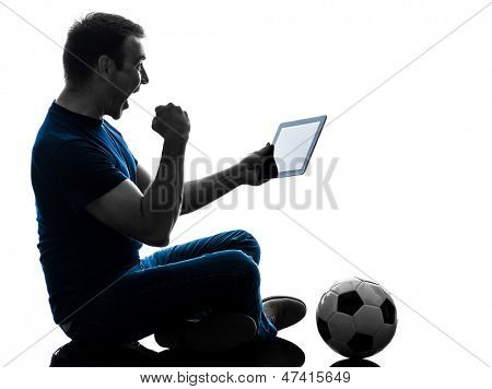 one caucasian man holding digital tablet   in silhouette on white background