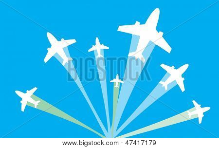 vector image of white silhouettes of jet airplanes fly to different ways, isolated on blue