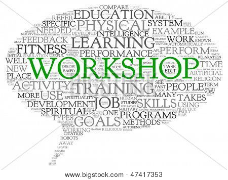 Workshop and learning related words concept in word tag cloud
