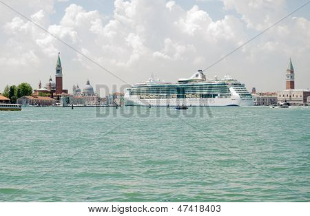 Venice with large Cruise Ship
