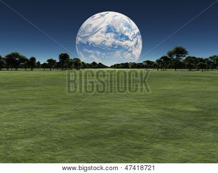 Постер, плакат: Чужой мир с другой планеты на горизонте или земли с Луной терраформингу, холст на подрамнике