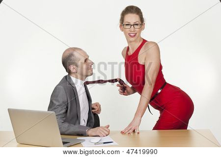 Sexy Assistant Flirting With Her Boss