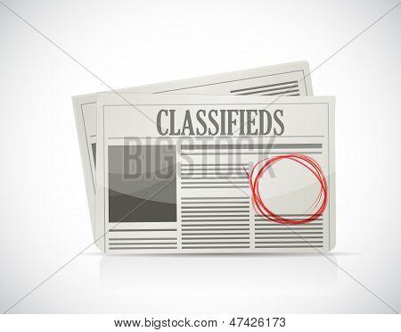 Anúncios classificados, jornal, conceito do negócio.