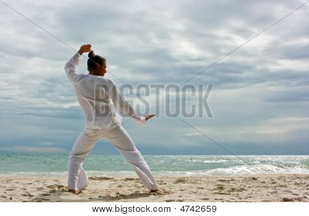 Wushu Man On The Beach