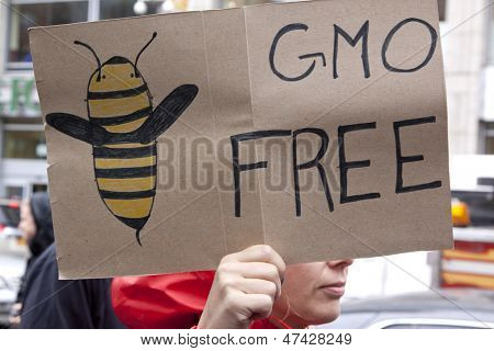 A close up of a sign that reads GMO Free with a drawing of a bee during a march against genetically modified organisms, also known as GMO's.