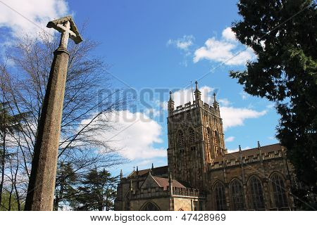 Medieval Malvern Priory Church and preaching cross