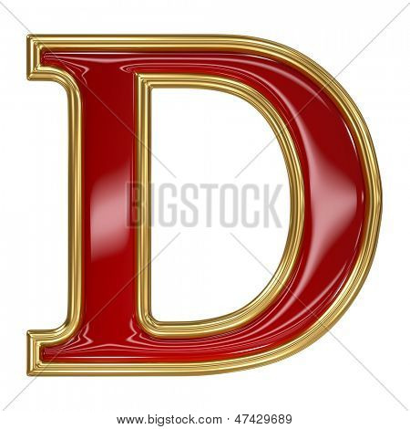 Ruby red with golden outline alphabet letter symbol - D