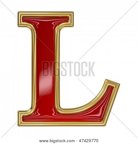 Ruby red with golden outline alphabet letter symbol - L