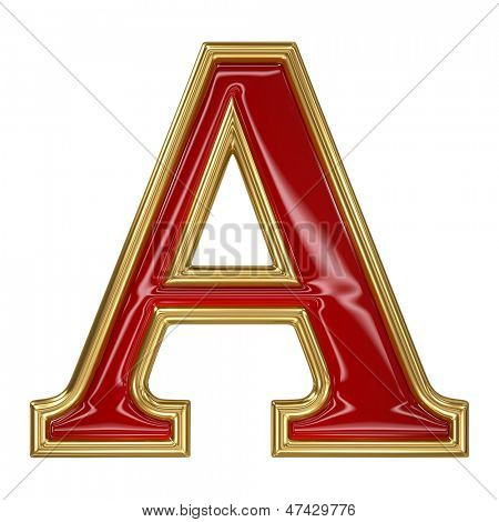 Ruby red with golden outline alphabet letter symbol - A