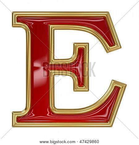 Ruby red with golden outline alphabet letter symbol - E