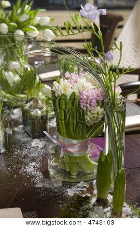 Bouquet Of  Tulip And Hyacinth In Vase Of Glass. Decoration Of Dining Table.