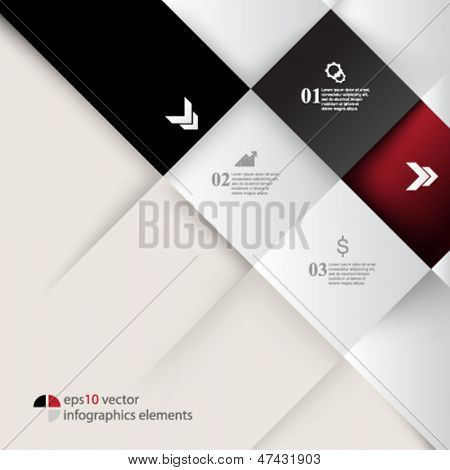 eps10 vector embossed squares infographics background