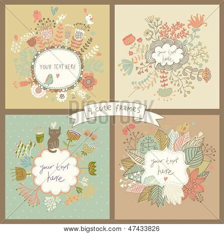 Cute set of four floral backgrounds with flowers, butterflies, birds, hedgehog and cat. Vintage frames with place for text in pastel colors. Spring time vector cards. Wedding invitation design.