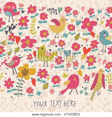 Floral seamless background with cute birds. Spring flowers vector border with place for text. Summer card.