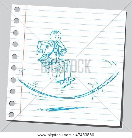 Businessman skipping rope