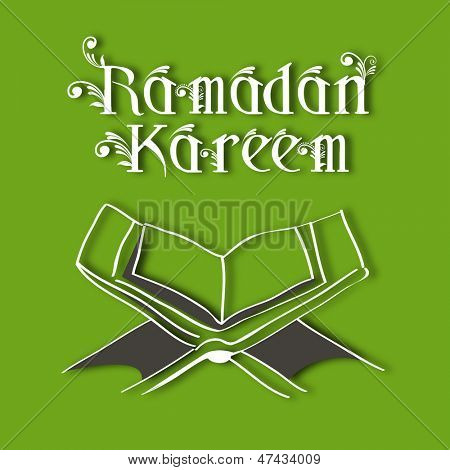 Muslim community holy month of Ramadan Kareem background with  open Islamic religious holy book Quran Shareef on green background.