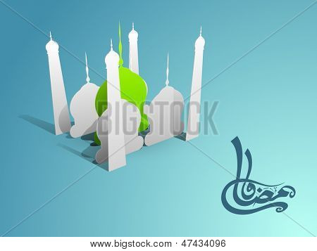 Arabic Islamic calligraphy of text Ramadan Kareem with creative view of mosque on abstract blue background.