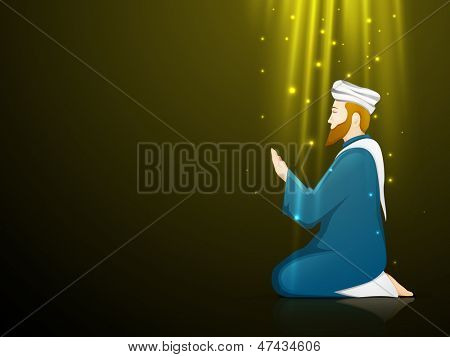 Illustration of a Muslim man in traditional outfits praying (Namaz, Islamic Prayer) on shiny abstract background.