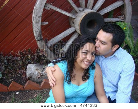 Young Hispanic Couple In Love