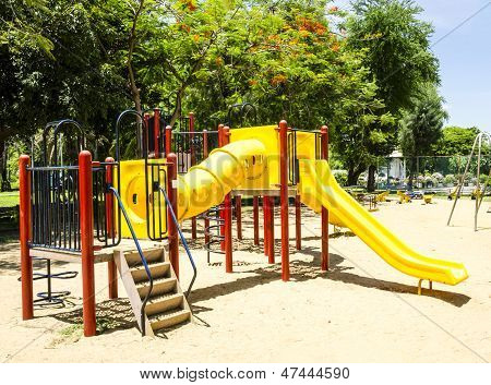 Colorful Playground in a park for child. ** Note: Soft Focus at 100%, best at smaller sizes