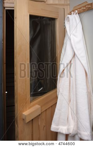 Bathrobe Near Sauna Door