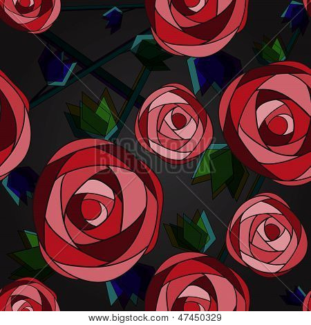 Roses Seamless Pattern On The Dark Background
