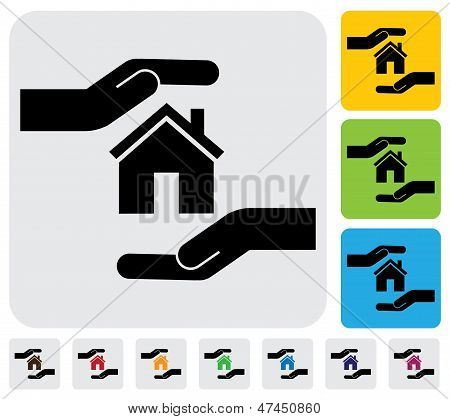 Hand Protecting House(home)- Simple Vector Graphic