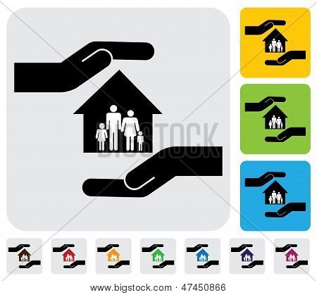 Mano protegiendo gráfico vectorial familia & House(home)-Simple
