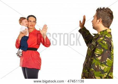 Mom With Baby By From Military Dad
