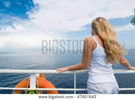 woman on cruise in sea