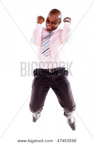 Successful business man jumping - isolated over a white background