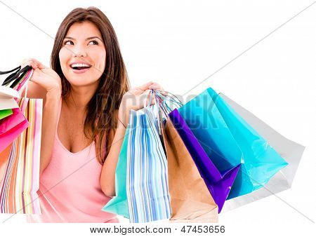 Happy shopping Woman smiling - isolated over white background