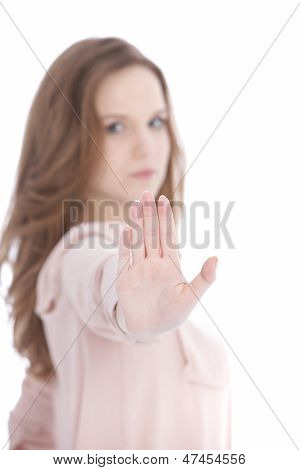 Young Woman Giving A Stop Gesture