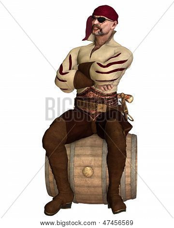 Old Pirate Sitting on a Barrel