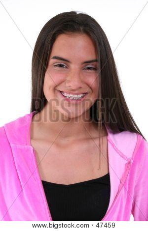 Beautiful Teen Girl In Pink