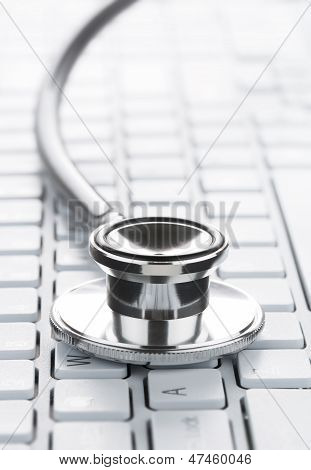Stethoscope On The Computer Keyboard