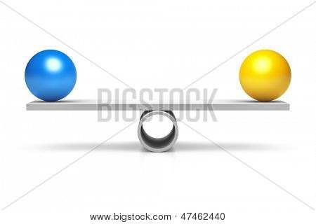 A blue and yellow ball at a balance