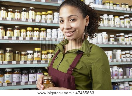 Saleswoman in health food store