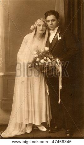 LODZ, POLAND, CIRCA TWENTIES - vintage photo of newlyweds, Lodz, Poland, circa twenties