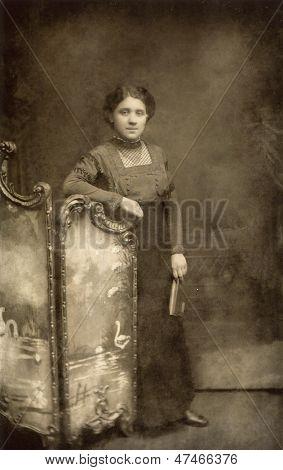 LODZ, POLAND, CIRCA 1910 - vintage photo of  woman in elegant dress, Lodz, Poland, circa 1910