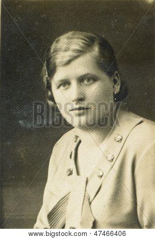 CZESTOCHOWA, POLAND, CIRCA THIRTIES - vintage portrait of unidentified woman, Czestochowa, Poland, circa thirties